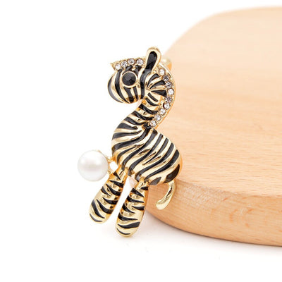 Cute Critters Brooch - Plush Zebra - An adorable little plushie-style zebra pin, available in gold or silver.