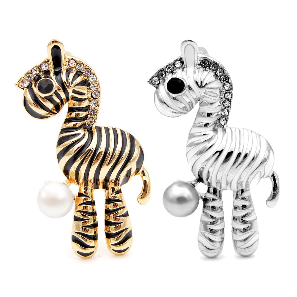 Cute Critters Brooch - Plush Zebra