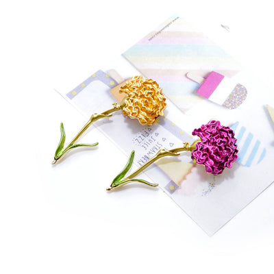 The Florist's Brooch - Long-Stem Carnation - A lovely long brooch available in pink, blue, red, or yellow.