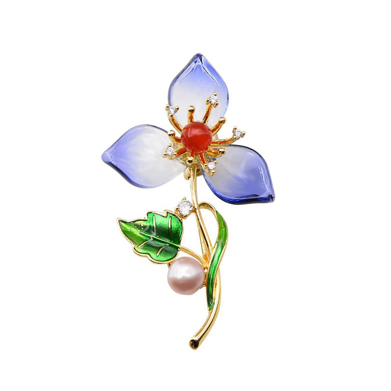 The Sylvan Stone Brooch - Translucent Blue Trillium