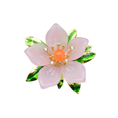The Sylvan Stone Brooch - Pastel Pink Lily - A beautiful pink flower brooch made of crystal and copper.