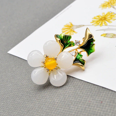 The Sylvan Stone Brooch - Curvy Daisy - A lovely white crystal daisy with copper and enamel accents.