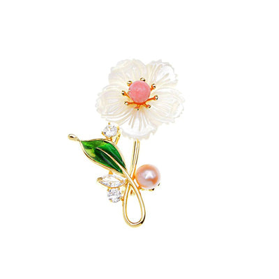 The Sylvan Stone Brooch - Shell Daisy - An adorable floral brooch made of carved stone to resemble shell, with either a pink or green stone in the centre.