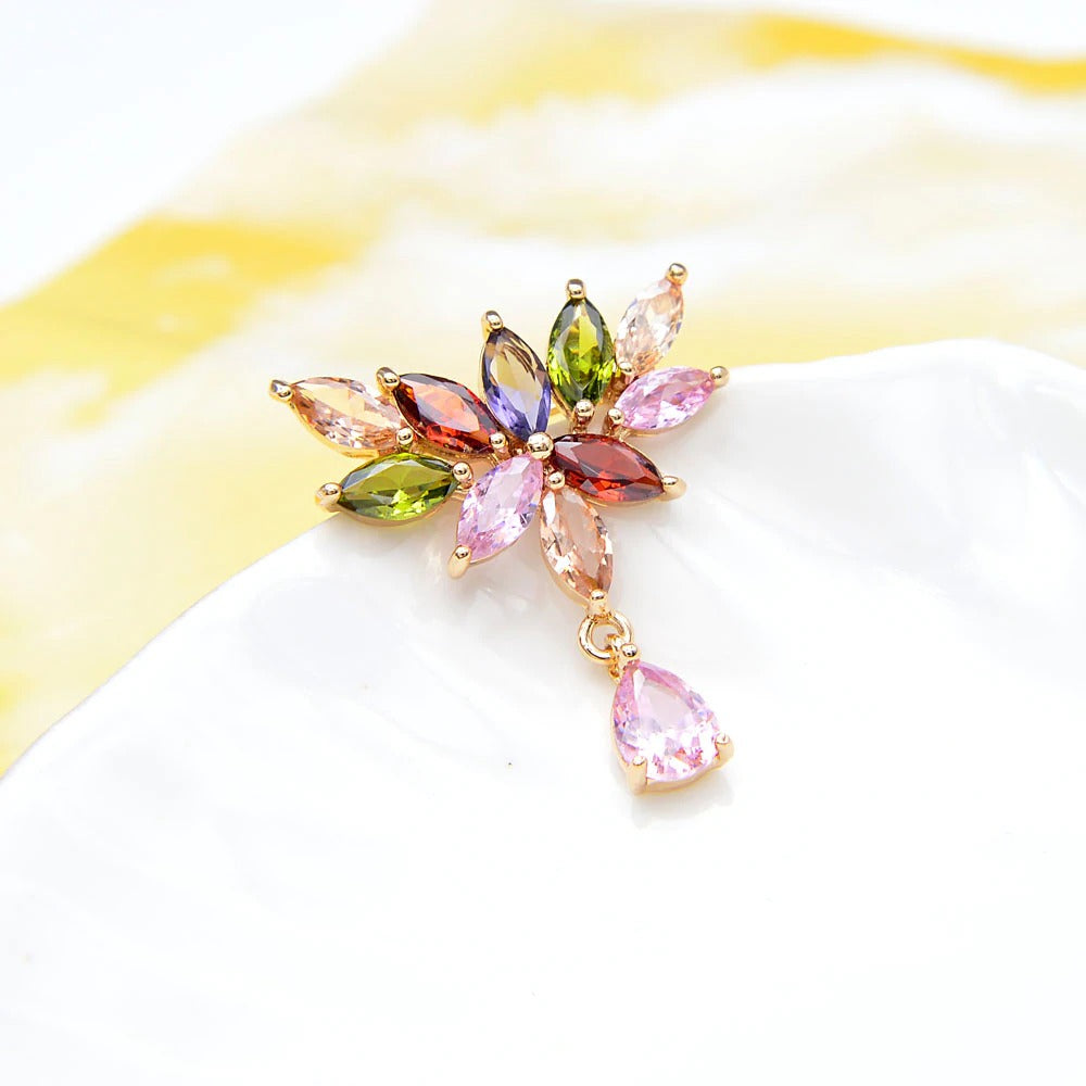 Bijoux Diadem Drop Brooch - A lovely crystal brooch made from marquise-shaped stones in an assortment of colours, arranged in a vaguely triangular shape.