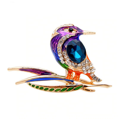 Cute Critters Brooch - Kingfisher - An adorable rainbow-coloured crystal and enamel brooch shaped like a bird sitting on a branch.
