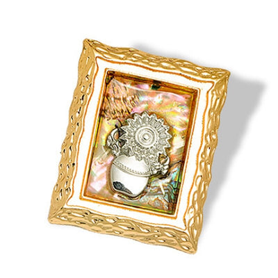 Abstract Brooch - Framed Fantasy - A large brooch that looks like a framed painting of a sunflower in a vase against an abstract background, made of zinc alloy and abalone shell.