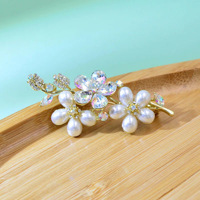 Cherry Blossom Cluster Brooch - A lovely little floral brooch adorned with crystals and pearls.