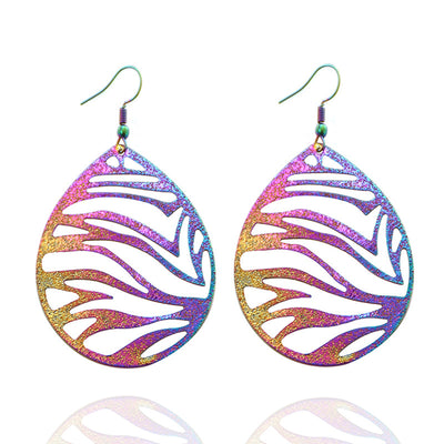 The Dazzle Collection - Zebtacular - UV-treated stainless steel earrings that shine in a rainbow of colours.