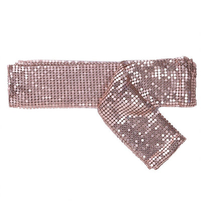 Diva Drape Statement Scarf - A long, narrow scarf-like accessory made of tiny metal sequins riveted together in such a way that they move like fabric, but shine like metal.