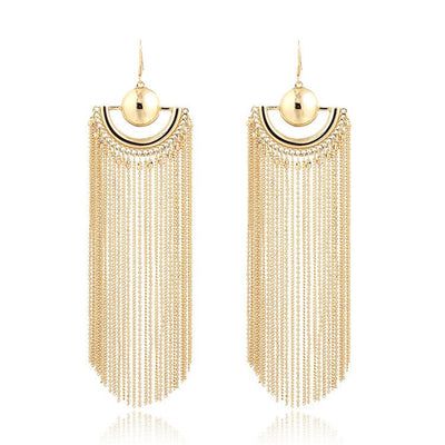 The Helena Earrings - Large, elegant, cascading chain earrings.