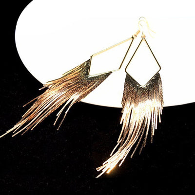 Malaika Tassel Earrings - Long stylish statement dangles, gorgeous!