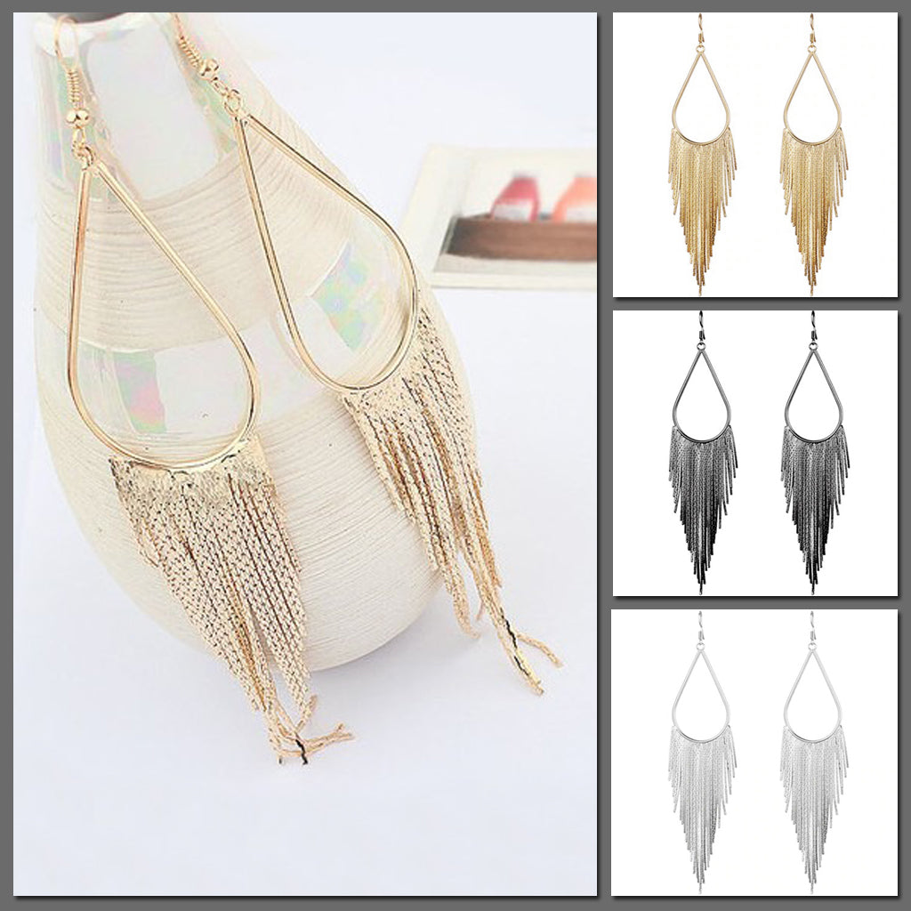 Jahzara Tassel Earrings - Long stylish statement dangles, gorgeous!