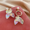 Pearlescent Mermaid Asymmetrical Earrings - Lovely lopsided iridescent earrings with a seaside theme.