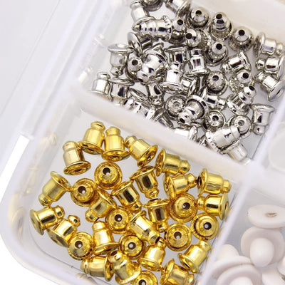 Earring Backs Kit - Variety Pack - A small plastic kit that contains ten different types of earring backs in an assortment of colours and styles.