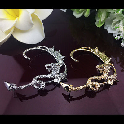 A dragon themed ear cuff available in gold or platinum.