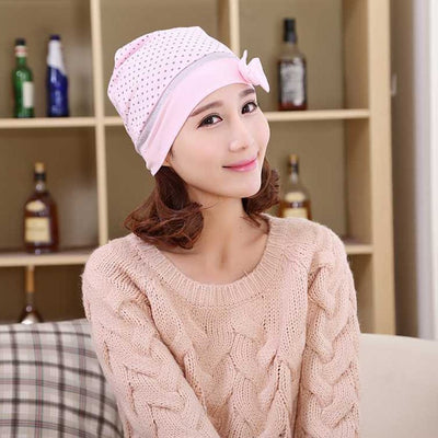 The Bow-Ka-Dot Beanie - An adorable adult beanie in pink or blue, polkadot with a cute bow on the side.
