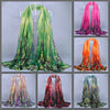 Beautiful chiffon scarves with fern designs in a variety of vibrant colours.