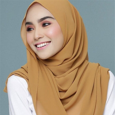 Ready-Set-Go Instant Hijab Scarf - A light-weight chiffon headscarf pre-sewn to make it easy to put on and take off.