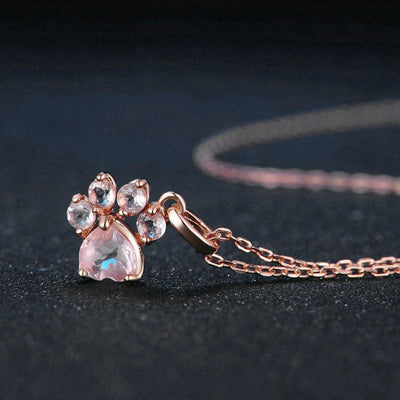 Roxi Sekhmet Set - A cute pink rose quartz and rose gold cat themed jewellery set.