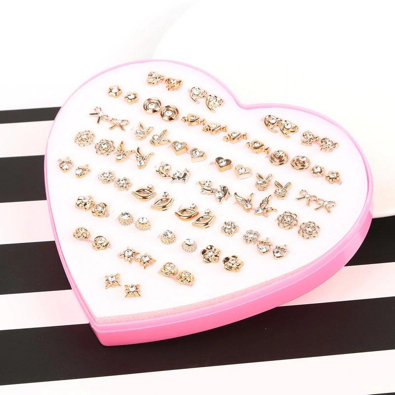 The Sassy Fash Children's Earring Set - an assortment of silicone-stemmed hypoallergenic earrings in a cute heart-shaped box.