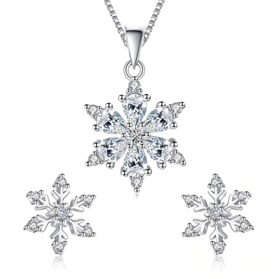 The Snow Queen III Set - Delicate silver and crystal snowflake necklace and earrings.