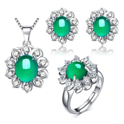 The Gaia Set - A beautiful green opal and crystal set including earrings, necklace, and adjustable ring.