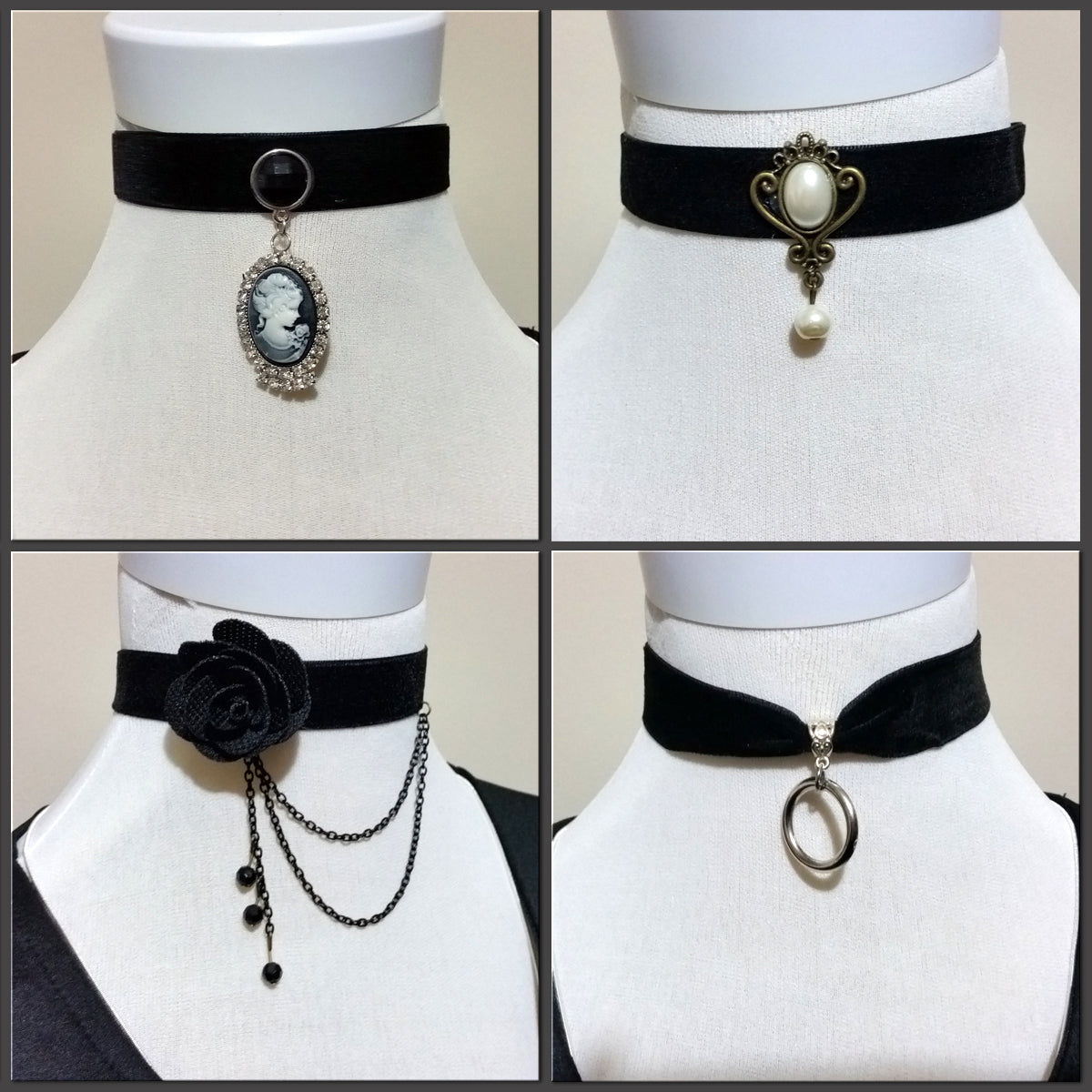 Assorted velvet chokers in four different designs.