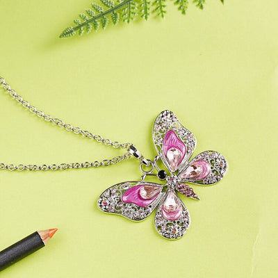 The Cethosia Butterfly Necklace - Beautiful medium length silver coloured necklaces with butterfly pendants in blue, green, red, pink, purple, and honey orange gold.