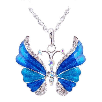The Adonis Butterfly Necklace - Beautiful medium length silver coloured necklaces with butterfly pendants in blue, green, red, pink, purple, and honey orange gold.