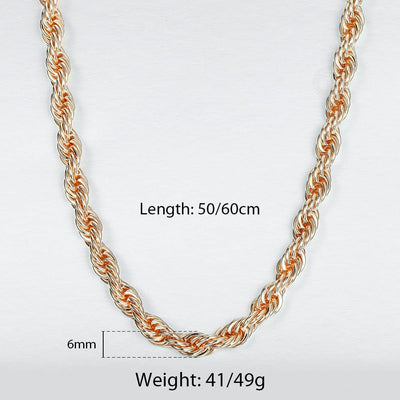 Damodice Spiral Chain Necklace - A beautiful rose gold spiral chain necklace made out of twisted strands of gold.