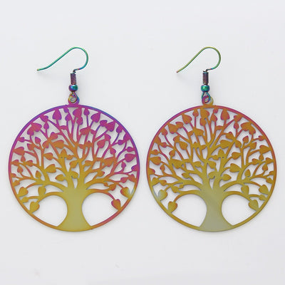 The Dazzle Collection - Yggdrasil - UV treated stainless steel earrings that glow in a rainbow of colours.