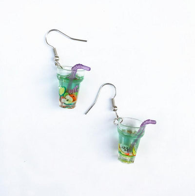 Teenytopia Fruit Punch Earrings - Adorable french hook earrings that look like tiny cups of fruit-filled punch, some with straws and some without.