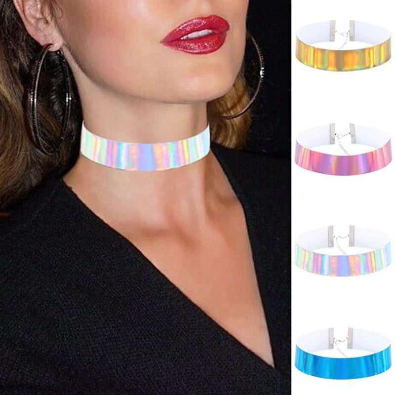 The Retro Revival - Hologram Choker Sets - Vibrant colourful faux leather rainbow holo chokers.
