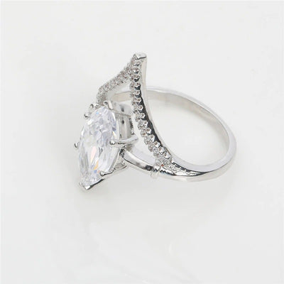 The Brilliant Classic Ring - A beautiful oval cut cubic zirconia set in a silver coloured band.