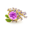 The Anthousai Ring - A lovely vibrant floral ring with a large coloured crystal surrounded by tiny enamel flowers and leaves.