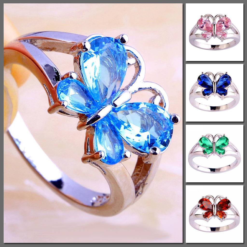 The Spring Fling Cocktail Ring - A beautiful butterfly-themed ring in vibrant crystals.