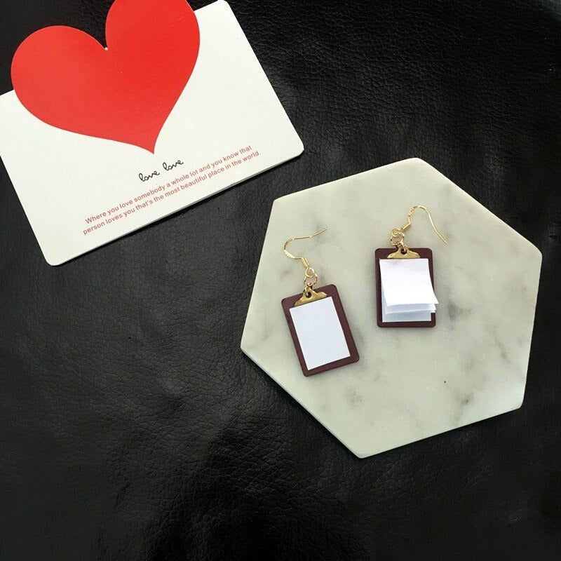 Teenytopia Cute Clipboard Earrings - A pair of adorable french hook earrings with miniature clipboards attached, with real pages of paper!