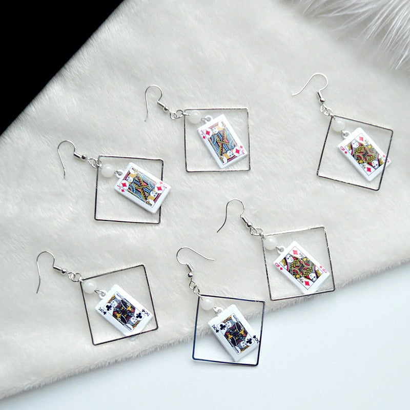 Teenytopia Card Shark Earrings - Cute earrings with playing card charms attached.