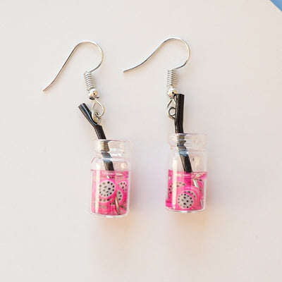 Teenytopia Mason Jar Earrings - Adorable earrings adorned with resin charms shaped like mason jars full of fruit cocktails.