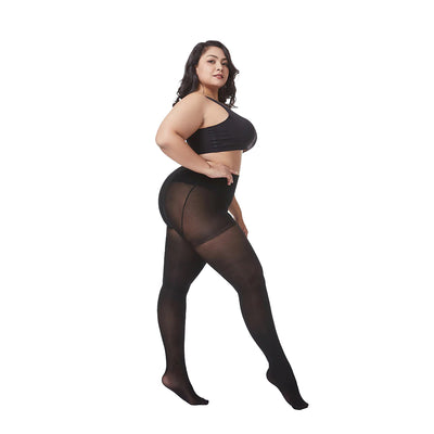 Essentials Queen-Size Ultra-Stretch Tights - Opaque - Extra stretchy stockings for plus-size people, available in black, brown, and cream colours.
