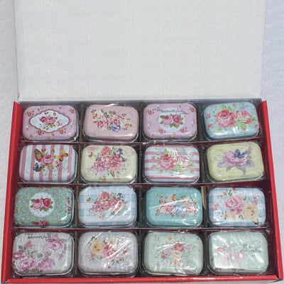 Teenytopia Trinket Tins - Bountiful Blooms - Cute little metal tins adorned with delicate floral patterns in an assortment of colours.