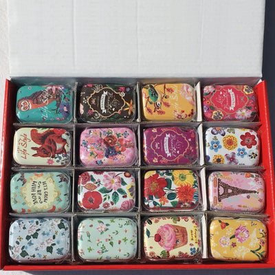Teenytopia Trinket Tins - Flora & Fauna - Cute little metal tins with colourful floral and animal patterns.