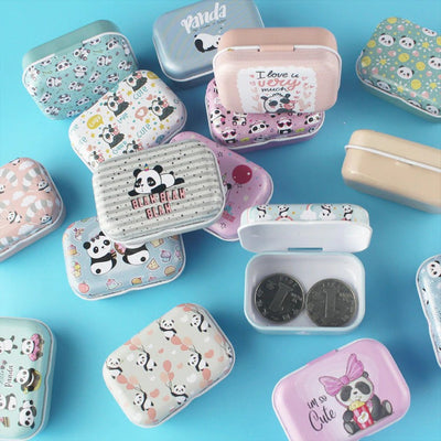 Teenytopia Trinket Tins - Playful Pandas - Cute little metal tins adorned with colourful panda designs in an assortment of colours and styles.