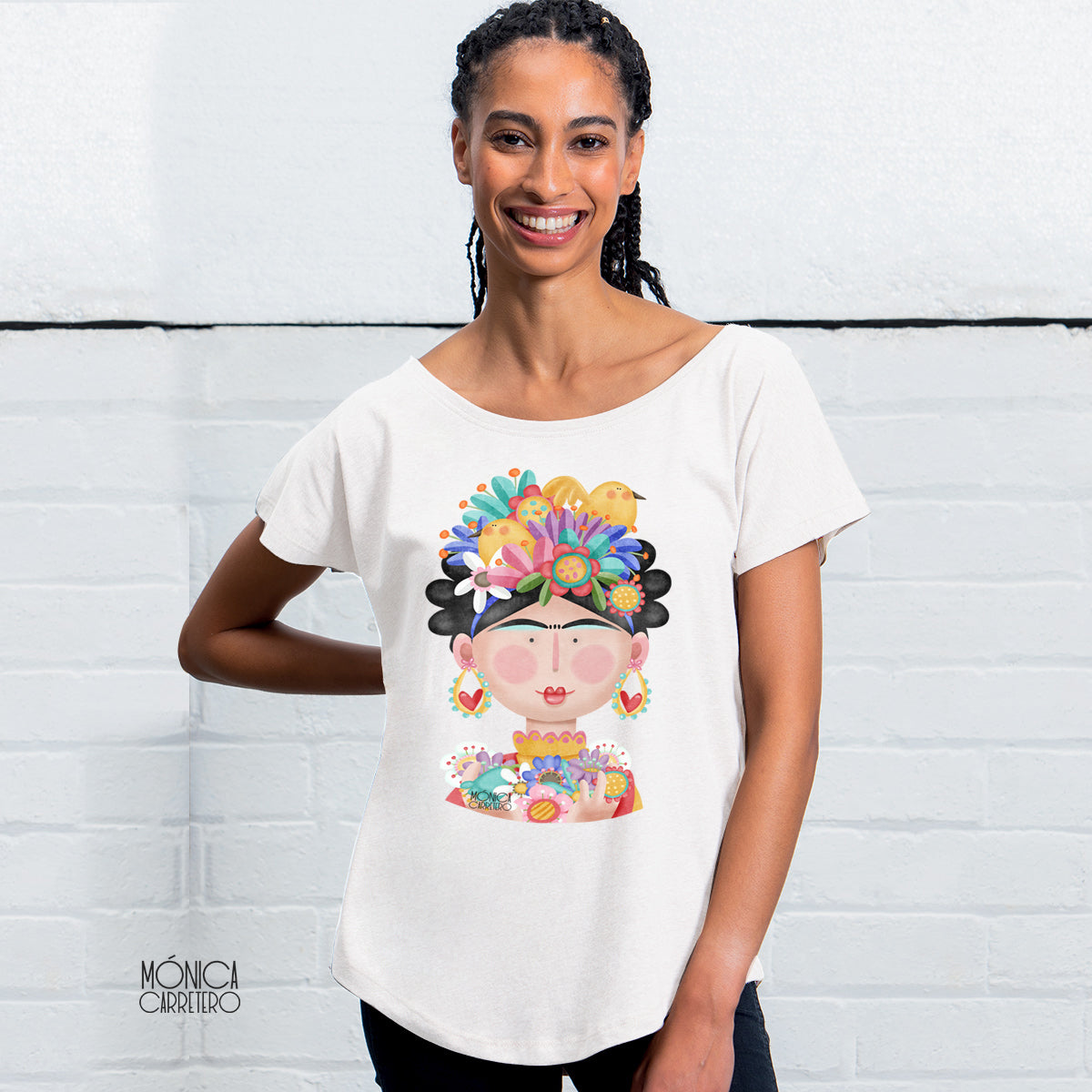 Camiseta Frida color blanco.