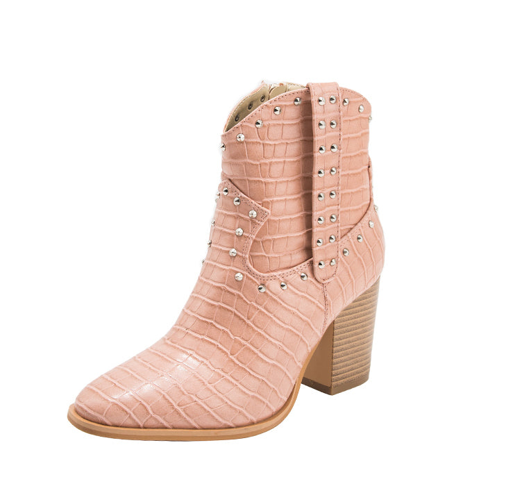 Peach Studded Western Boho Ankle Boot