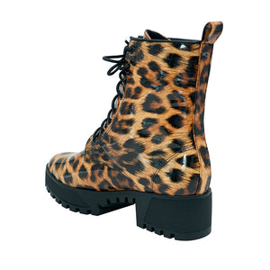 Wild Leopard Lace Up Combat Boot