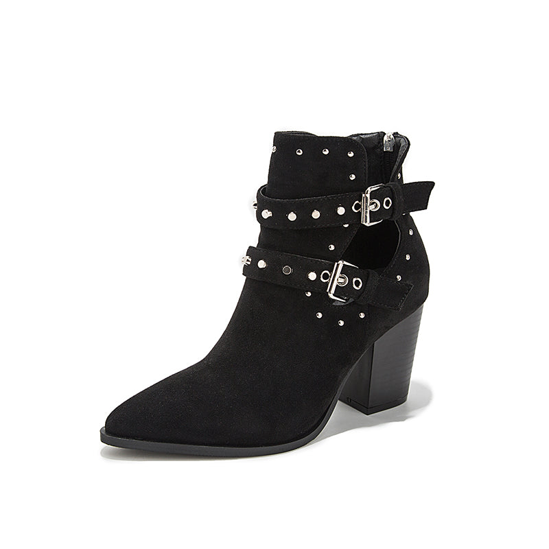 Buckle Strap Faux Suede Ankle Boot
