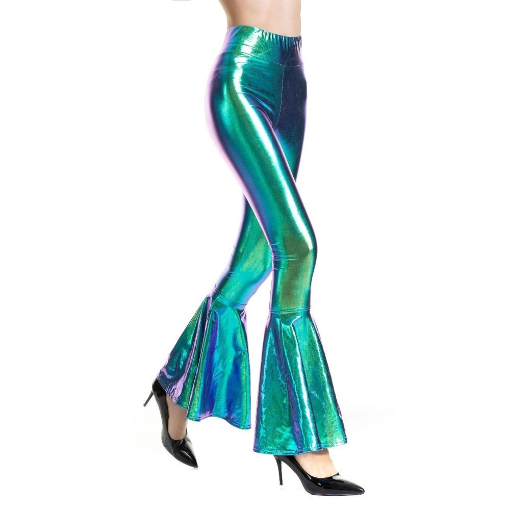 Holographic Flared Bell Bottom Disco Leggings