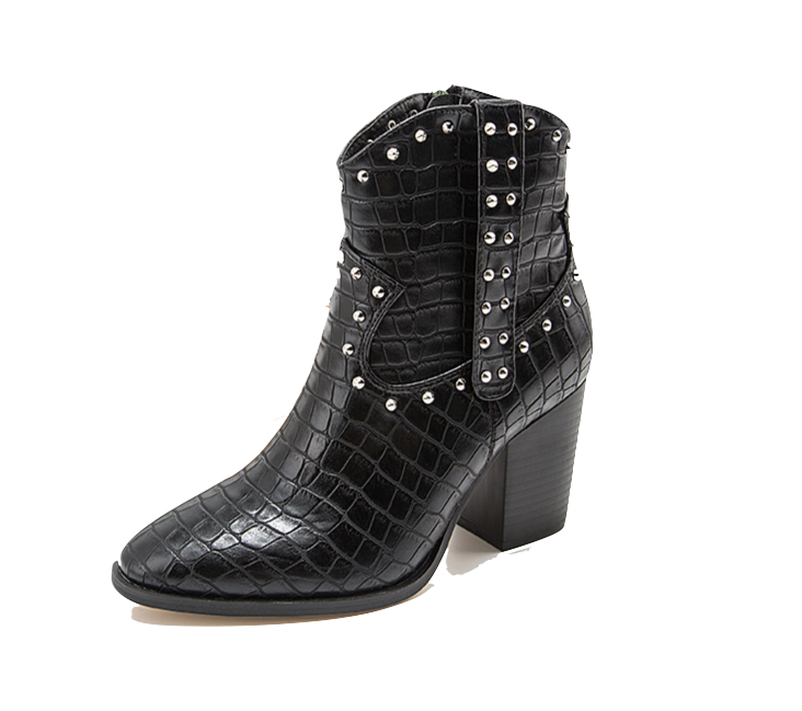 Black Studded Western Boho Ankle Boot
