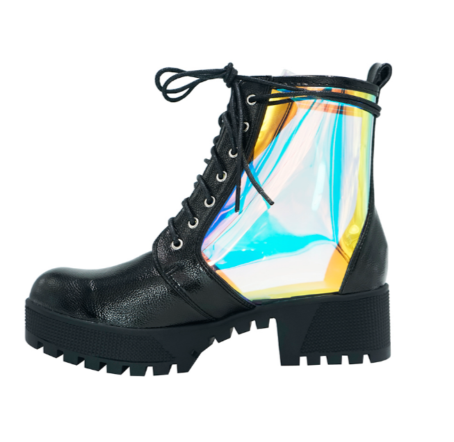 Mermaid Translucent Holographic Lace Up Combat Boots